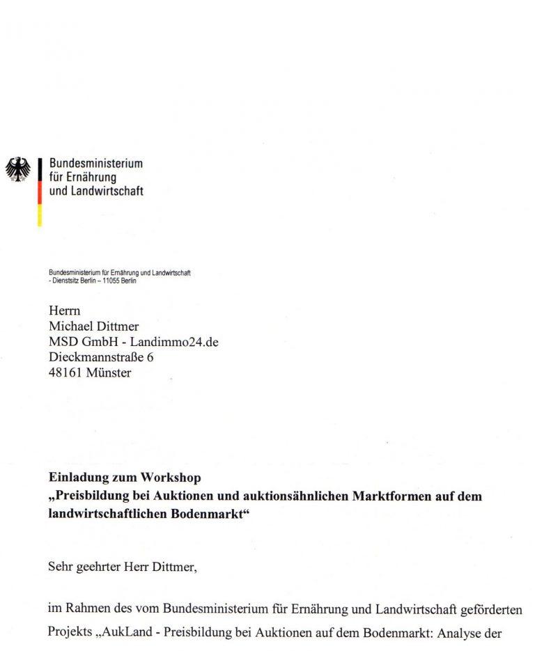 Einladung Michael Dittmer zum Bundesministerium für Ernährung und Landwirtschaft